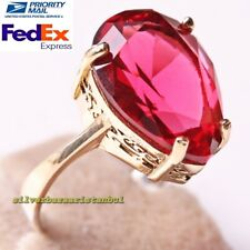 Turkish 925 Sterling Silver Faceted Red Ruby Stone Ladies Womans Ring