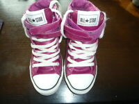 Girls Bright Pink Converse Boots Size 4 Leather Uppers. Chuck Taylor.VGC.