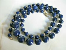 Vintage Navy Blue Banded Black Bead Necklace
