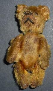Antique miniature mohair Schuco bear 21/2'' high lipstick holder?