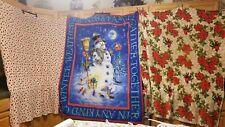 "Lot Of 3 Christmas Fleece 50""x60"" Throws-Snowman, Pointsettia & Polka Dot"