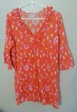 Mudpie Linen Tunic Dress Swim Cover-up Orange Pink Ikat Sz Small