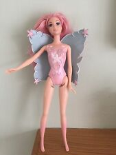 Stunning Fairy Barbie Doll In With Moulded Leotard And Original Wings In Vgc