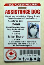 HOLOGRAPHIC CANADIAN SERVICE DOG ID CARD BADGE ADI LAW ASSISTANCE ANIMAL TAG 23