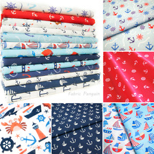 Anchors Fabric Boats Anchor Nautical Metre Children's Kids Nursery Polycotton