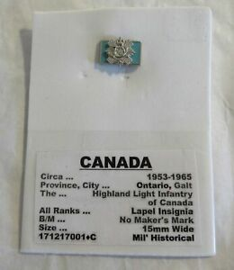 Canada Highland Light Infantry Galt Ontario Military Lapel Pin Insignia Vets