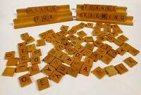 Scrabble Wooden Replacement Tiles & Racks Vintage