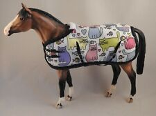 Handmade turnout rug blanket fit 1:9 Traditional Breyer toy horse cat print