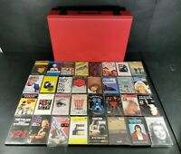 Various Music Genres and Artists x 32 Cassette Tapes with Red Storage Case *3