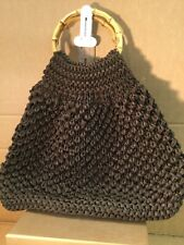 Brown String Bag With Bamboo Handle