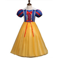 Kid Girl Dress Snow White Fancy Princess Party Cosplay Costume Tutu Dress 3-8Yrs