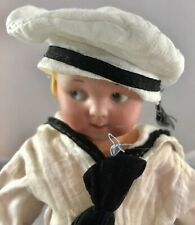 "9.5"" Antique German Bisque Head French Sailor Googly Doll! Adorable! 18015"