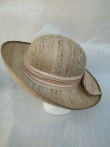 Beige Pink Bow Vintage Silk Brimmed Hat Theatre Amatuer Dramatics Races Wedding