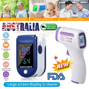 Digital Infrared Forehead Thermometer +Finger Pulse Oximeter Baby & Adult Caring