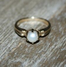 14K Gold Marquette Pronged PEARL Ring Size 4.50