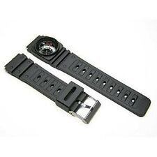 2 Pieces 18mm Black Rubber Resin Compass Watch Band Strap