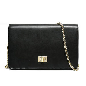 Leather Shoulder Bag Women's Shoulder Bag Chain Shoulder Strap Black New