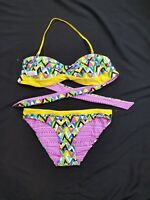 Arizona Jean Company Womens 2 Piece Bandeau Bikini Set Size Lrg Top - Med Bottom