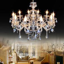 Samger 10 Arms K9 Crystal Chandelier Glass Ceiling Light Pendant Lamp Cognac E12