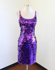 Vtg 90s Purple Chunky Sequin Beaded Party Dress Size S Cocktail Evening