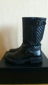 CHANEL Black Quilted Motorcycle Zipper Buckled Boots Size 37, US 7