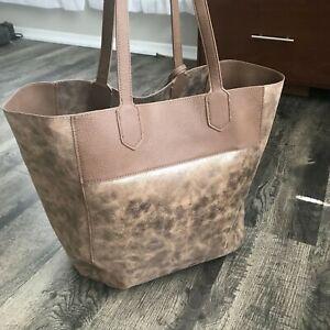 Anthropologie Miss Albright Gold Metallic Vegan Leather Tote Bag Brown Purse