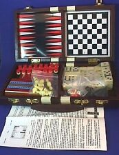Vintage Travel Game Set BACKGAMMON CHESS CHECKERS CRIBBAGE DOMINOES Unused