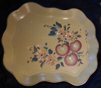 Vintage NASHCO New York Hand Painted fruit Tole Metal Serving Tray toleware