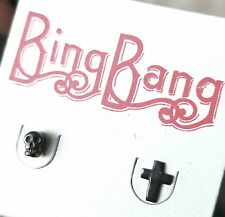 BING BANG memento mori mini skull and cross sterling silver earrings studs