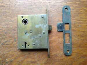 Antique Working Door Mortise Lock & Striker by Russell & Erwin Patented 1886