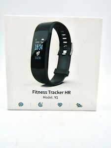 NEW Black Fitness Activity Tracker, Heart Rate, Sport, Model Y1 (Android & iOS)