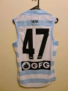AFL Port Adelaide Power Tobin Cox Player Issue Blue Hoops Guernsey Jumper