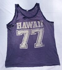 1977 Hawaii Tank Top Purple Thrashed Soft Vintage Paper Thin T-Shirt (L 21x27)