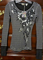 Miss Me Girls Black/Gray Striped Top Long Sleeve S (Small) KJMT758 NEW With Tags