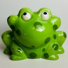 Merry Go Round Gorham Pitter Patter Frog Bank Ceramic Polka Dots Green Toad