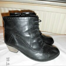 Evans Black Real Leather Ankle Boots Size UK 10 EU 43 EEE