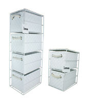 WHITE  2 or 4 Drawer Polypropylene Tower Storage Unit - Home Storage/Office