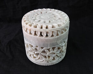 """3""""x3"""" Marble Jewelry Box Handmade Hand Carved Ring Box Home Decor Gifts Arts"""