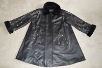 Yves Saint Laurent Fourres Leather / Gold Studded / Fur Jacket Coat Womens UK 14