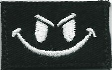 """1"""" x 1 5/8"""" Black White Smiley Face Patch VELCRO BRAND Hook Fastener Compatible"""