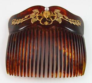 Antique 10K Gold Art Nouveau Faux Tortoise Shell Pearl Flower Motif Hair Comb