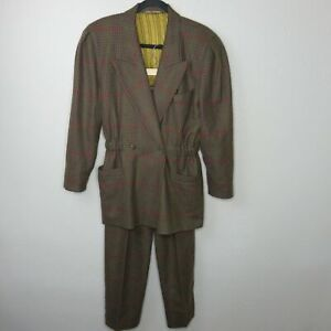 Vintage Brown Wool Pant Suit Notch Collar Cinch Waist - Women's Small