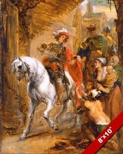 ST MARTIN OF TOURS FRANCE CUTTING HIS CLOAK PAINTING ART REAL CANVAS PRINT