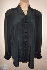 Vintage Roots black evening blouse with chiffon long sleeves size 14