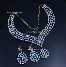 925 Sterling Silver Diamond White Moonstone Necklace Earring Jewelry set-12