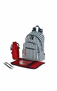NEW OiOi Backpack Nappy Bag - Navy & White Stripe