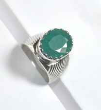 9.05 Ct Natural Green Emerald 92.5 Sterling Silver Astrological Men Ring