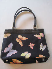 TALBOTS Handbag BUTTERFLIES Black with  Pink Orange Purple Expandable Side