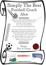 FOOTBALL COACH / MANAGER PERSONALISED THANK YOU CARD / XMAS GIFT Fun Laminate