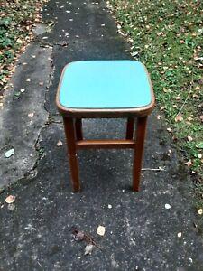 Vintage Retro 1950/1960s Bar Stool Wooden Blue Vinyl Seat Pad Top-Man Cave Home